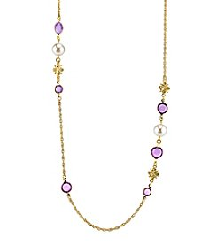 1928® Jewelry Goldtone Light Purple and Simulated Pearl Long Strand Necklace 42