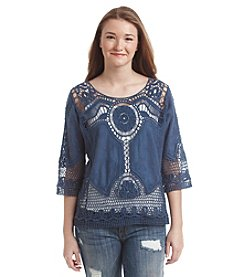 Taylor & Sage™ Embroidered Crochet Top