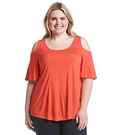 Eyeshadow® Plus Size Knit Cold Shoulder Tee