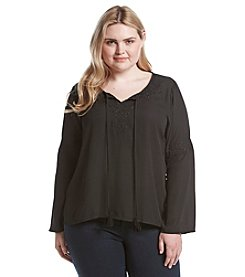 Eyeshadow® Plus Size Crochet Neckline Peasant Top
