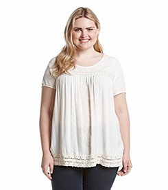 Eyeshadow® Plus Size Embroidered Crepe Shirt