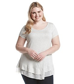 Living Doll® Plus Size Heathered Scoop Neck Tee