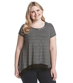 Living Doll® Plus Size Striped Crochet Hem High-Low Tunic