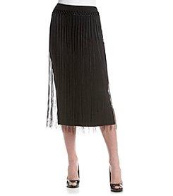 Kensie® Fringe Trim Midi Skirt