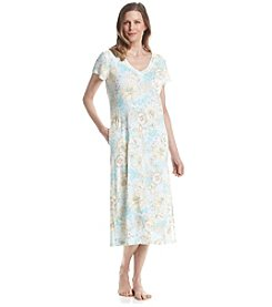 Miss Elaine® Long Printed Woven Nightgown