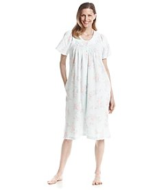 Miss Elaine® Printed Button Up Robe