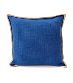 LivingQuarters Lake Collection Textured Blue PIllow