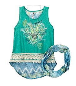 Beautees Girls' 7-16 Abstract Printed Tank With Scarf