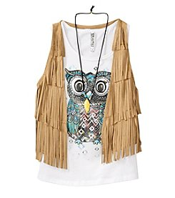 Beautees Girls' 7-16 Owl Printed Tee With Fringe Suede Vest