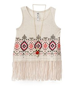 Beautees Girls' 7-16 Geo Printed Tank With Fringe