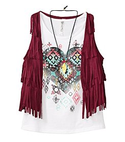 Beautees Girls' 7-16 Geo Heart Printed Tank With Fringe Suede Vest