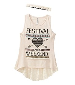 Beautees Girls' 7-16 Festival Music Weekend Printed Crochet Back Tank