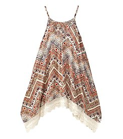 Beautees Girls' 7-16 Geo Printed Sharkbite Trapeze Dress