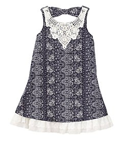 Beautees Girls' 7-16 Printed Swing Dress With Crochet Trim
