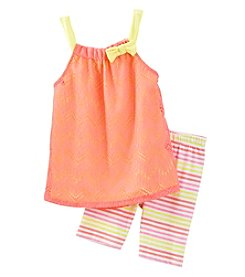 Nannette® Girls' 2T-6X Chevron Lace Tank And Striped Leggings Set