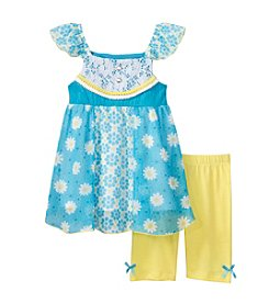 Nannette® Girls' 2T-6X Daisy Printed Tunic And Leggings Set