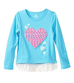 Mix & Match Girls' 2T-6X Long Sleeve Heart Printed Tunic With Lace Hem