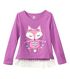 Mix & Match Girls' 2T-6X Long Sleeve Fox Printed Tunic With Lace Hem
