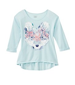 Miss Attitude Girls' 7-16 Long Sleeve Fox Printed High-Low Tee