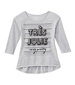 Miss Attitude Girls' 7-16 Long Sleeve Tres Jolie Printed Peplum Tee