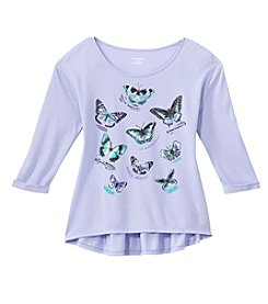 Miss Attitude Girls' 7-16 Long Sleeve Butterfly Printed Peplum Tee
