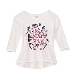 Miss Attitude Girls' 7-16 Long Sleeve Be-You-Tiful Printed Peplum Tee