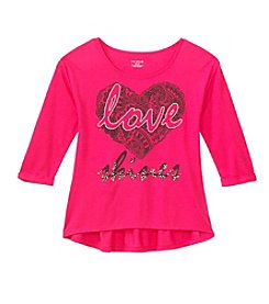 Miss Attitude Girls' 7-16 Long Sleeve Love Shines Printed Peplum Tee