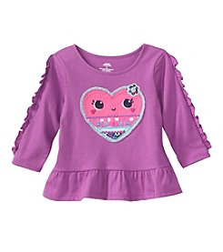 Mix & Match Baby Girls' Long Sleeve Heart Applique Peplum Tee