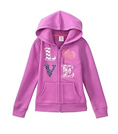 Mix & Match Girls' 2T-6X Love Printed Zip Up Hoodie