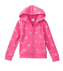 Mix & Match Girls' 2T-6X Polka Dot Printed Zip Up Hoodie