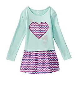 Mix & Match Girls' 2T-6X Long Sleeve Wavy Heart Printed Dropped Waist Dress