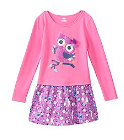 Mix & Match Girls' 2T-6X Long Sleeve Owl Printed Dropped Waist Dress