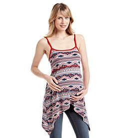 Three Seasons Maternity™ Floral Print Sharkbite Hem Tank