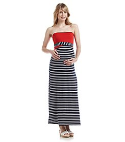 Three Seasons Maternity™ Strapless Nautical Knit Maxi Dress