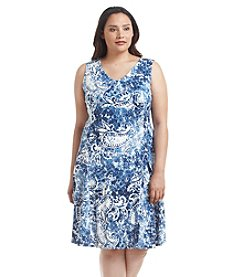 Notations® Plus Size Printed V-Neck Dress