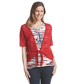 Alfred Dunner® All Aboard Tie Front Layered Look Sweater