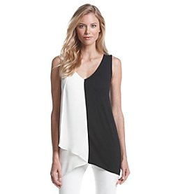 August Silk® V-Neck Panel Top