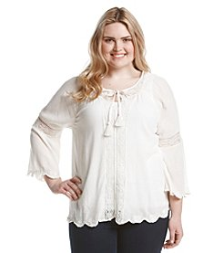 Jessica Simpson Plus Size Alaya Solid Peasant Top