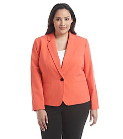 Nine West® Plus Size Solid One Button Jacket