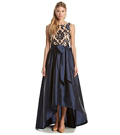 Adrianna Papell® Embroidered Lace Top Taffeta Skirt Gown