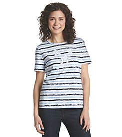Breckenridge® Petites' Stripe Stars Knit Top