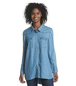 Earl Jean® Long Sleeve High-Low Chambray Top
