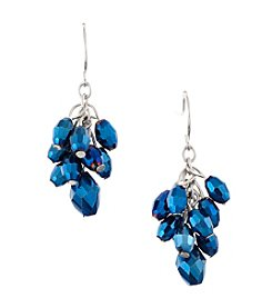 BT-Jeweled Metallic Faceted Bead Cluster Earrings