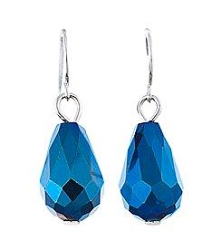 BT-Jeweled Metallic Faceted Bead Teardrop Earrings