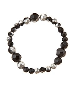 BT-Jeweled Metallic And Black Faceted Bead One Row Stretch Bracelet
