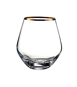 Crystal Clear® Gold Rim Stemless Wine Glasses