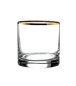 Crystal Clear® Set of 4 Gold Rim Double Old Fashioned Glasses
