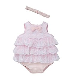 Little Me® Baby Girls' Tiered Popover Romper With Headband