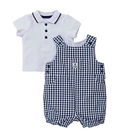 Little Me® Baby Boys Polo And Checkered Shortall Set
