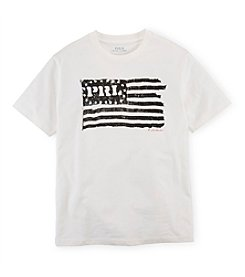 Ralph Lauren Childrenswear Boys' 8-20 Short Sleeve Flag Graphic Tee
